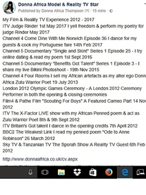 My Film & TV Experience 2012 - 2017 www.donnaafrica.co.uk/cv.aspx