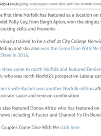 I get a mention about my TV Appearances in Come Dine With Me, XFactor and Channel 5 Benefits in EDP24 Today 3rd July 2019