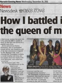 How I battled it out with Anne Robinson on TV! Norwich Evening News 14th Dec 2011