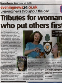 Tribute to My late sister Kris Tribute Norwich Evening News July 8th 2011
