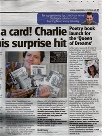 My Poetry Book launch Norwich Evening News April 9th 2011
