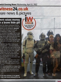 Norwich Star Wars Club & I  raised monies for the Grace Matthews Fund at ASDA 7th April 2012