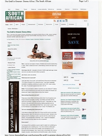 I am featured in the South African Newspaper and website 2nd May 2012