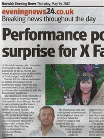 Norwich Evening News 24 May 2012 X-Factor Audition