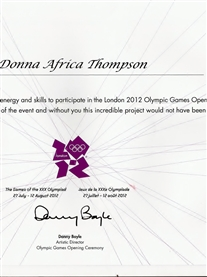 My Certificate from Danny Boyle for my participation in the London 2012 Olympics Opening Ceremony