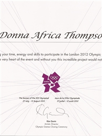 My thank you Certificate for my participation in the London 2012 Closing Ceremony