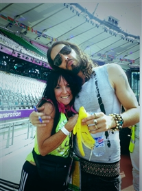Russell Brand & I share a hug during rehearsals at the London 2012 Closing Ceremony 12th Aug 2012
