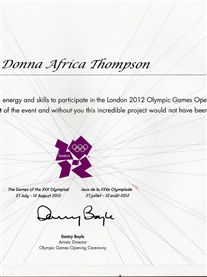 My thank you Certificate from Artistic Director, Danny Boyle, of