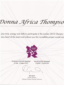 Thank you certificate form Artistic Director of London 2012 Closing Ceremony