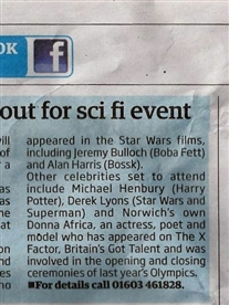 I am featured in The Norwich Advertiser about my appearance as a guest at the UEA Sci-fI & Film Convention 12th April 2013