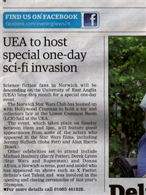 My Press coverge in Norwich Advertiser newspaper about my Celeb Arrendance at the Norwich Sci-fi Film UEA Event 10 June 2013