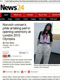 Norwich Evening News about my participation in the London2012 Olympic Games 2012