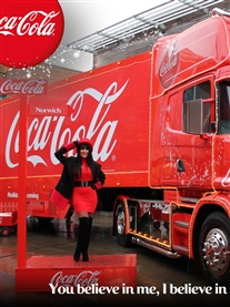 I pose with the famous Coca-Cola Christmas Truck Norwich 15th Dec 2013