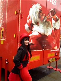 Me with my red top hat pose with the famous Coca-Cola Christmas Truck Norwich 15 Dec 2013