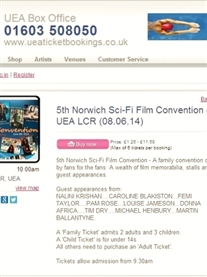 I am Guest at the UEA 5th Norwich Sci-Fi Film Convention.Tickets on sale now!