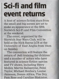 Norwich Evening News 3rd June 2014 Guest at 5th Norwich Sci-fi & Film Event