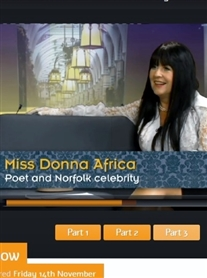 Donna Africa Poet & Norfolk Celeb a Guest on Mustard TV 14 Nov 2014